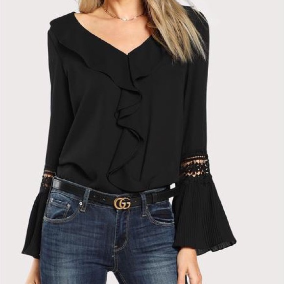 Tops - Pleated Cuff Blouse with Ruffle and Lace Inserts